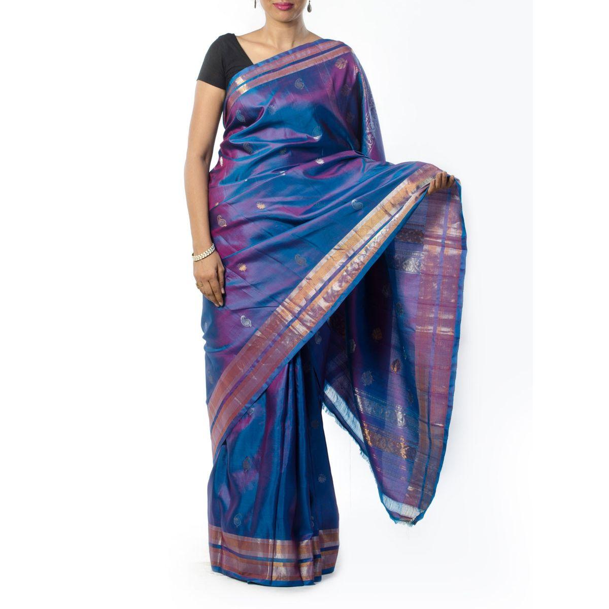 Blue Zari Work Silk Saree