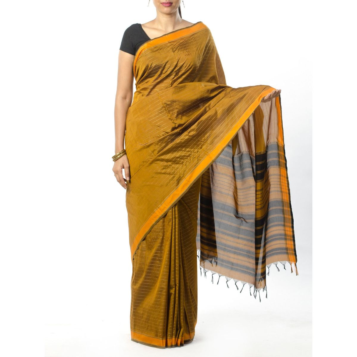Green Striped Silk Saree