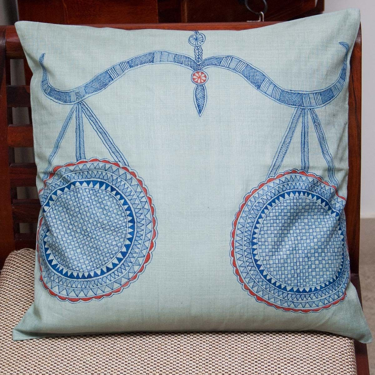 Libra Zodiac Sign Cushion Cover - 16 X 16 Inch