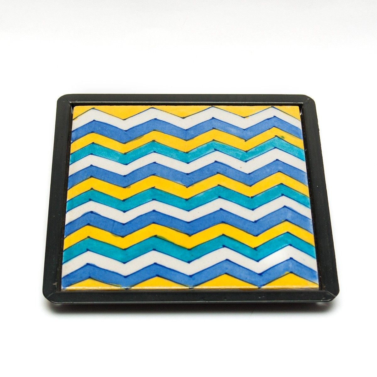 Green Ceramic Table Trivet - 6 X 6 Inches