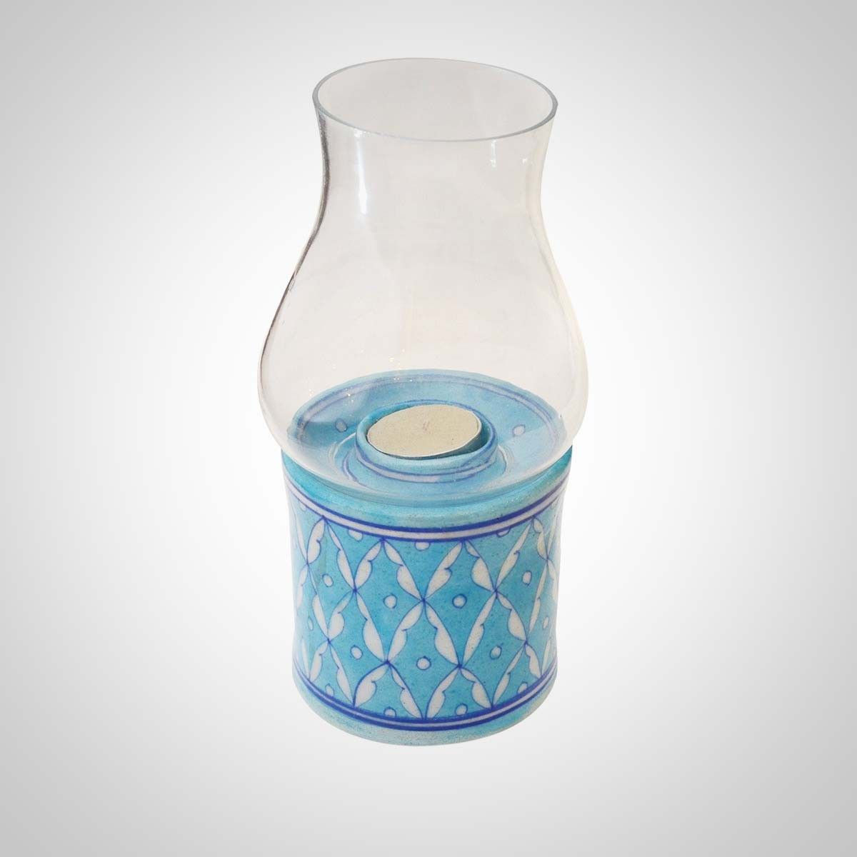 Sky Blue Ceramic & Glass Tea-Light Holder Chimney - 8.5 Inches Height