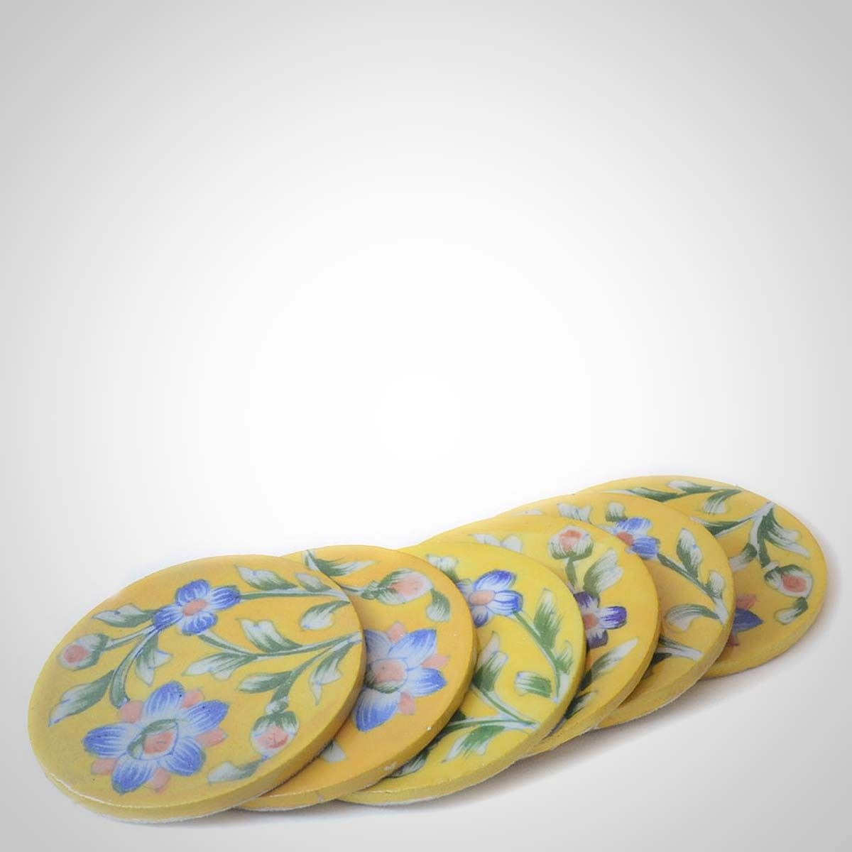 Yellow Ceramic Coasters - Set of Six - 3.5 Inches Diameter