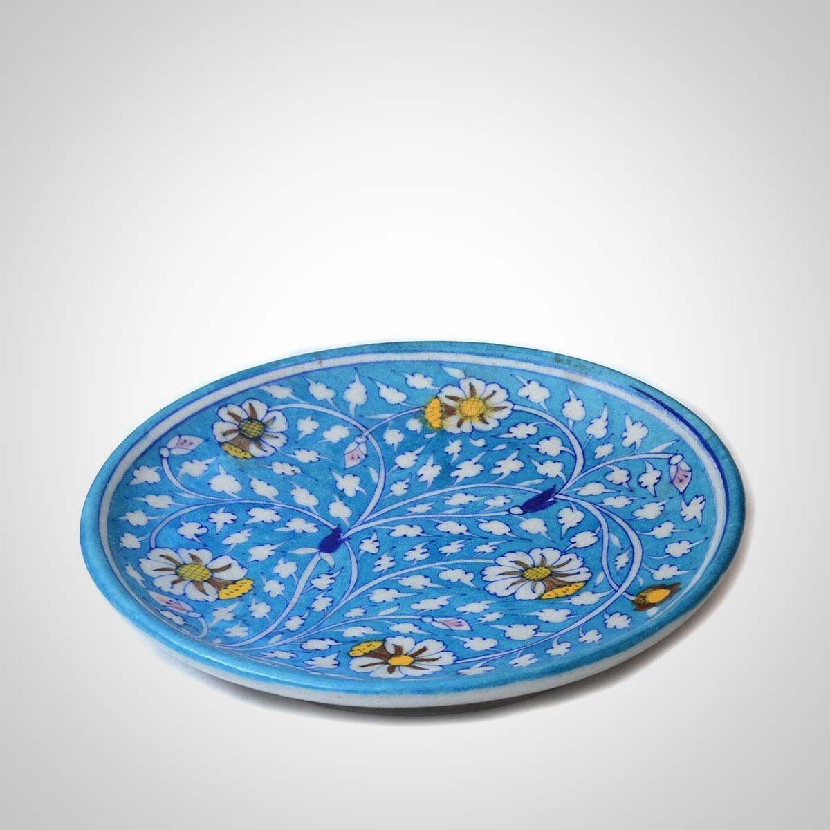 Blue Ceramic Plate - 10 Inches Diameter