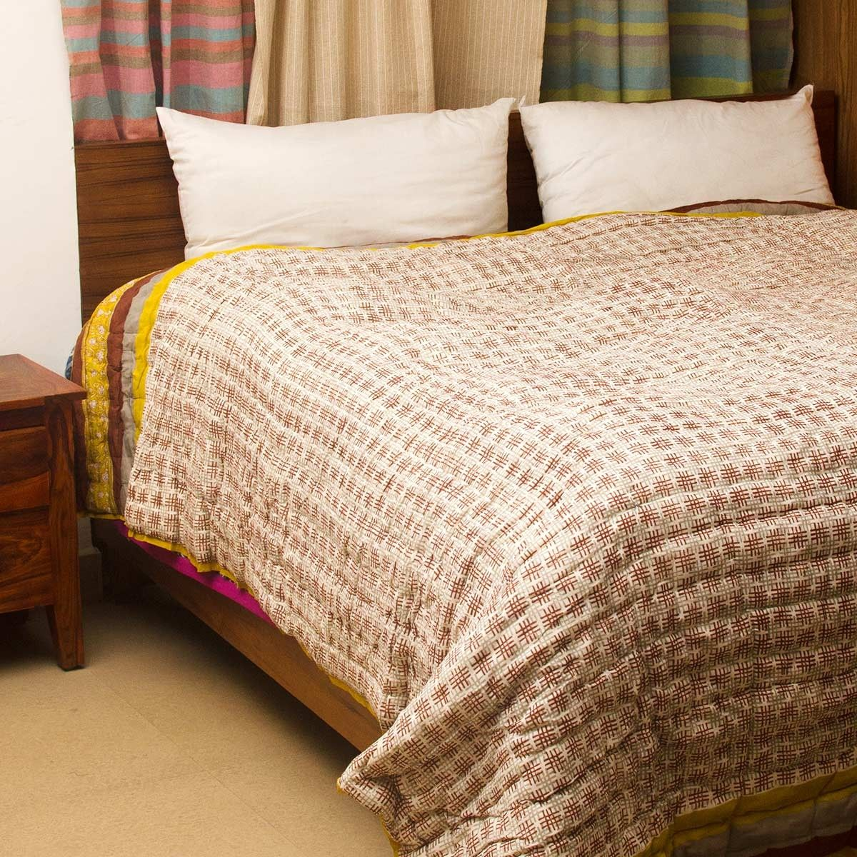 Brown Damask Block Printed Cotton Quilt-For Double Bed