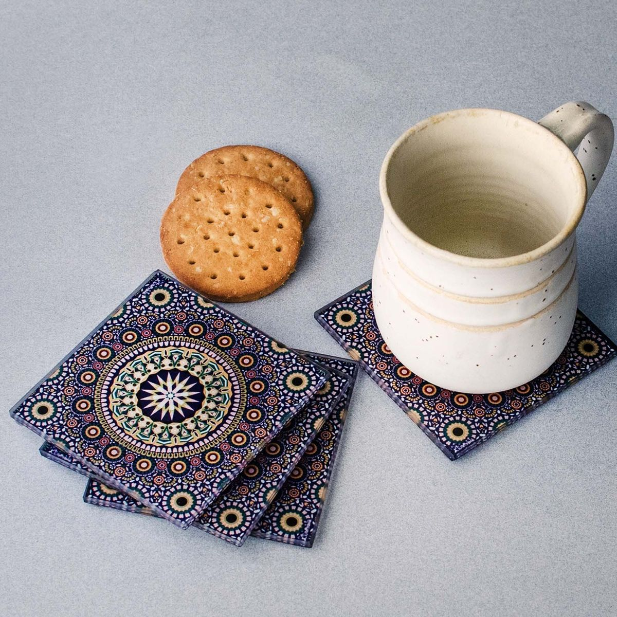 Moroccan Print Glass Coasters - Set of 4