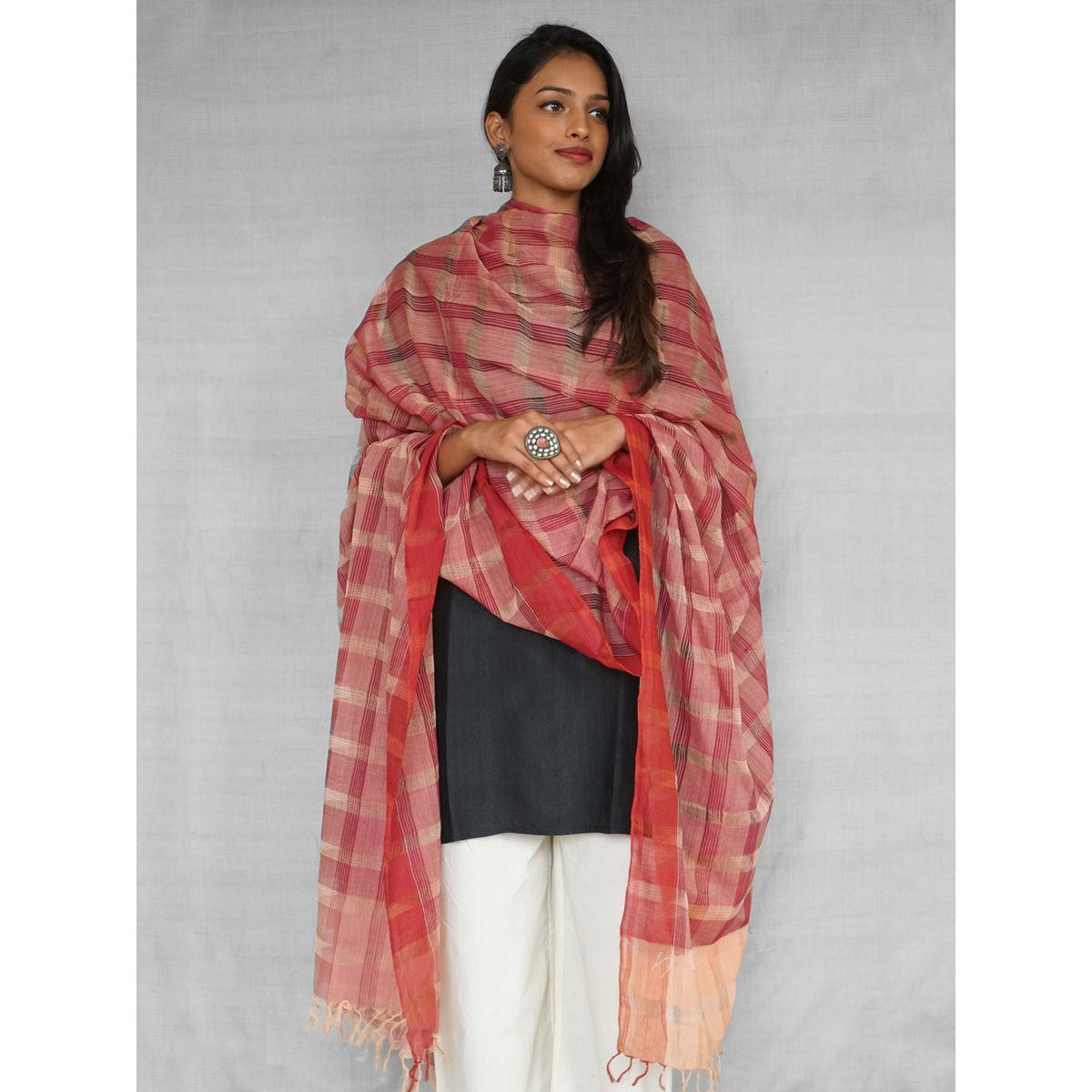 Maroon Mangalgiri Handloom Cotton Dupatta