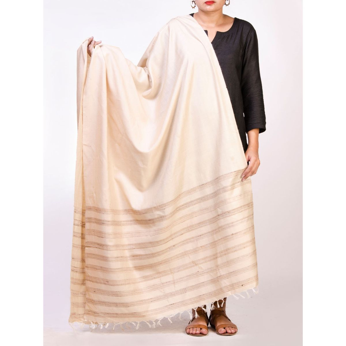 Off White Tussar Silk  Dupatta