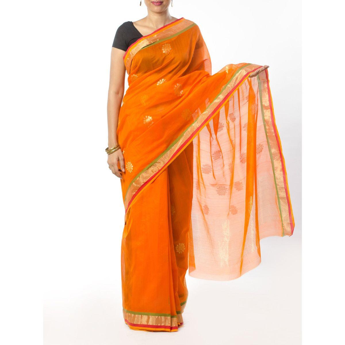 Orange Chanderi Saree with Zari Work
