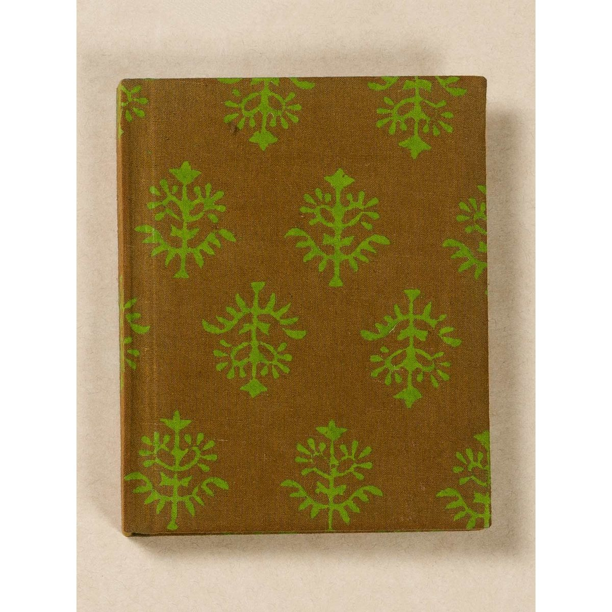 Olive Green Block Print Fabric Note Book