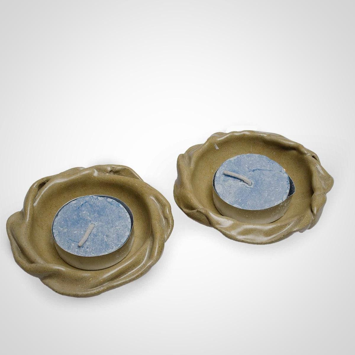 Light Green Ceramic Flower Diya Holder  - Set of Two