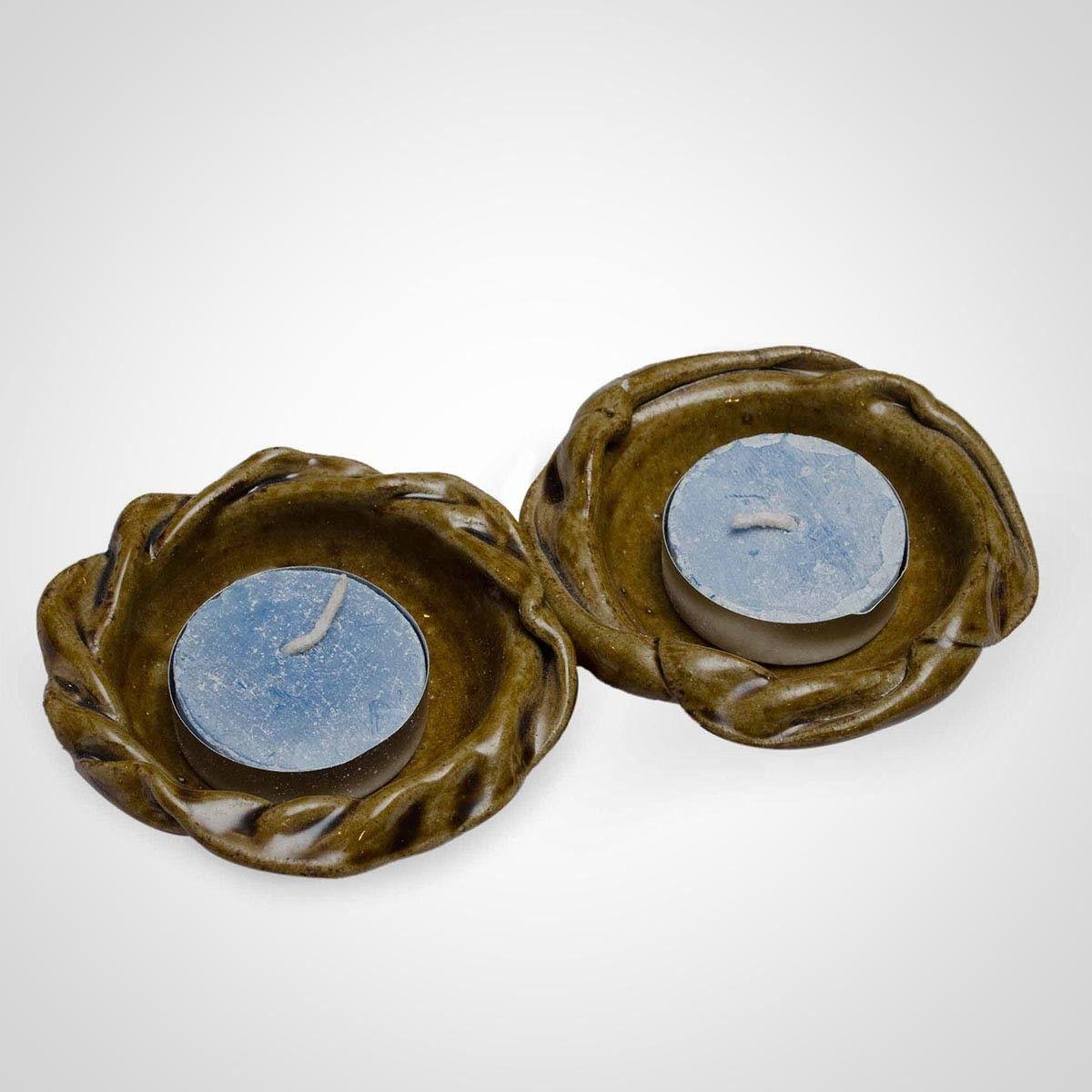 Green Ceramic Flower Diya Holder  - Set of Two