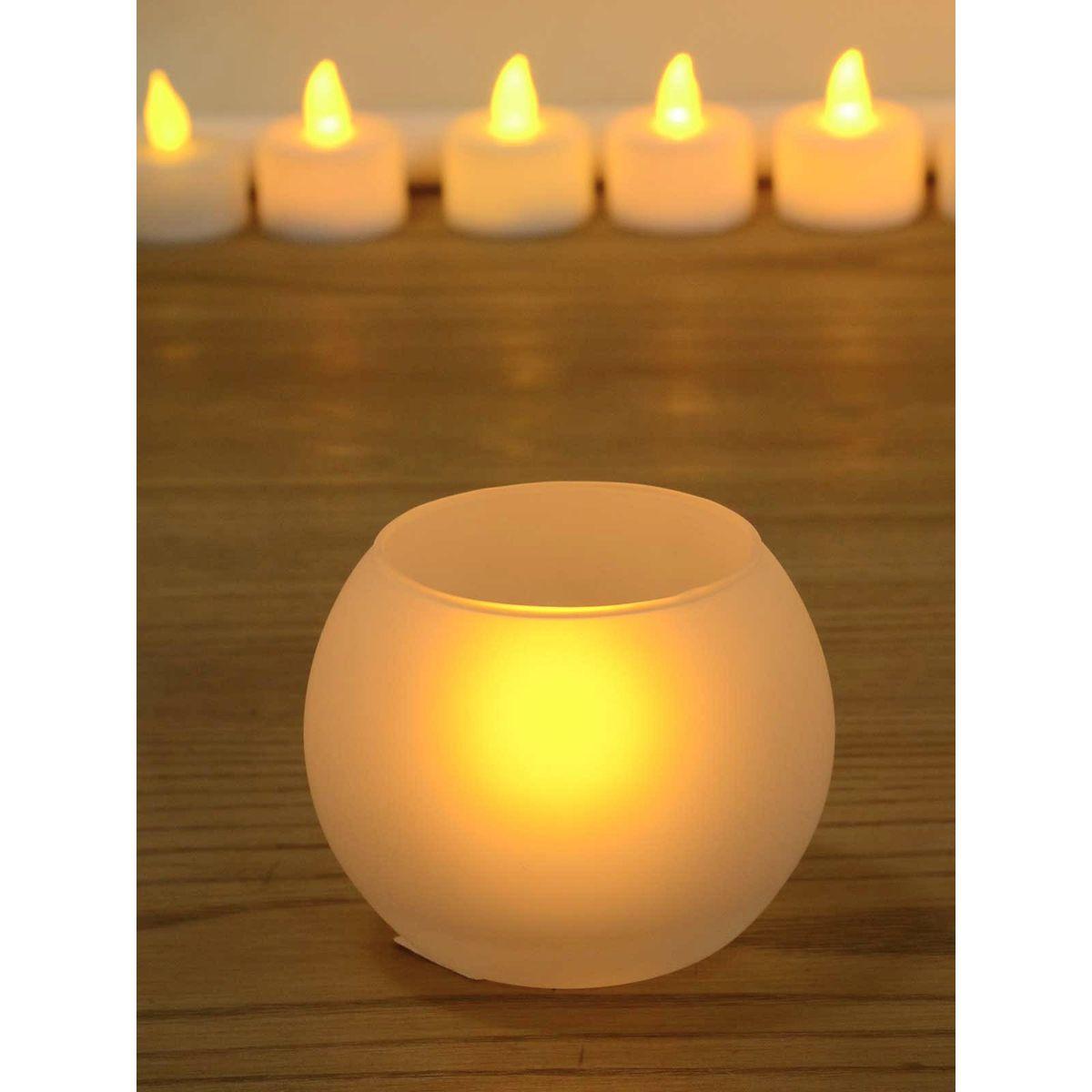 White Glass Candle/Diya Holder - 3 x 2.5 Inches