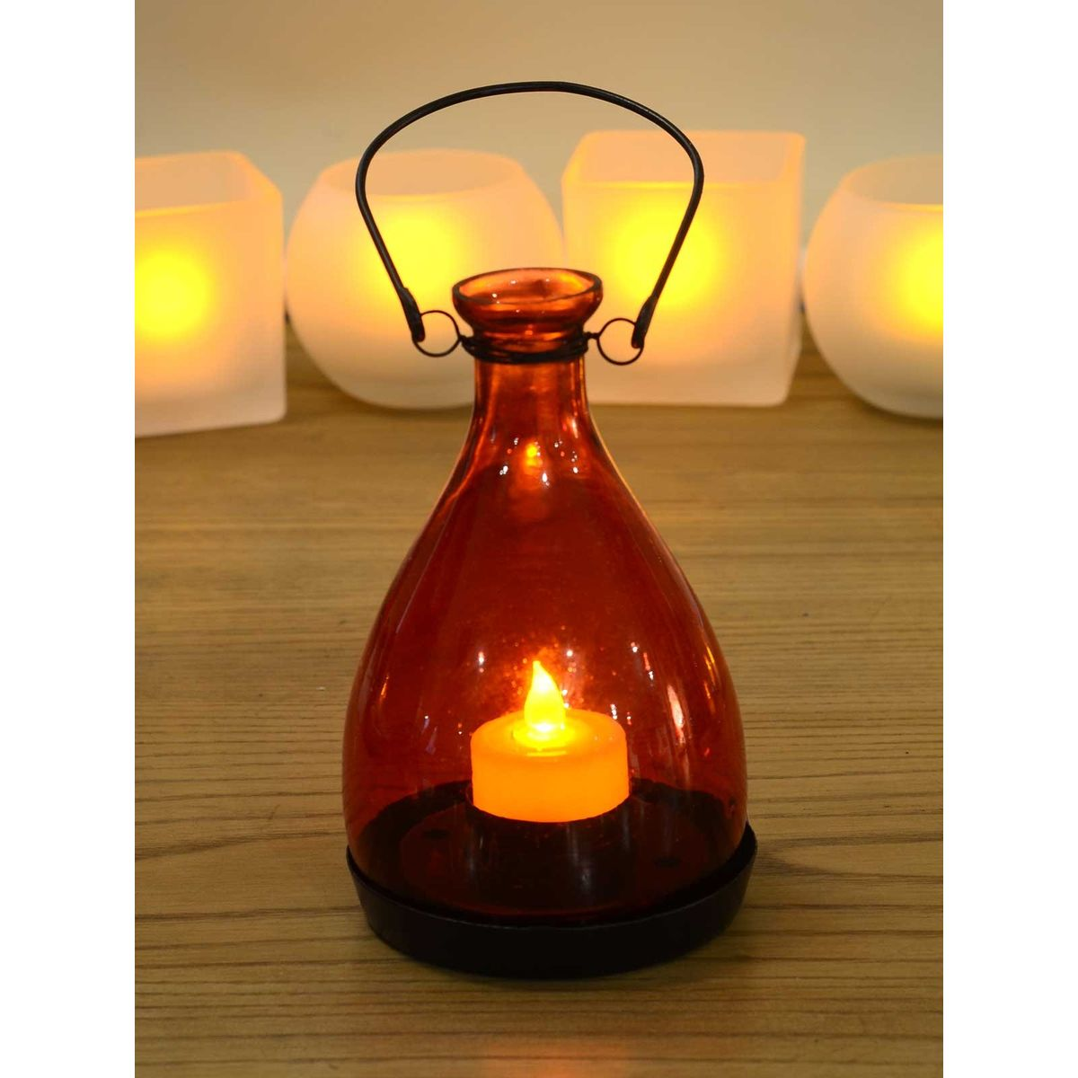 Red Amber Glass Vintage Lantern (with flameless tea-light candle) - 3 x 4 Inches