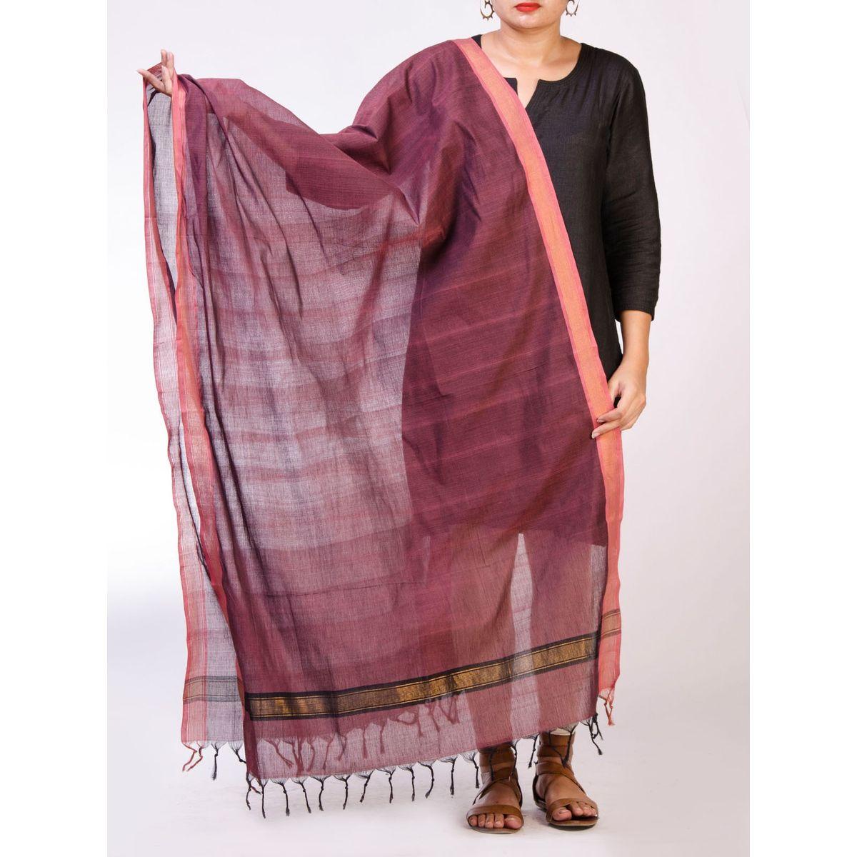 Wine Cotton Handloom Cotton Dupatta
