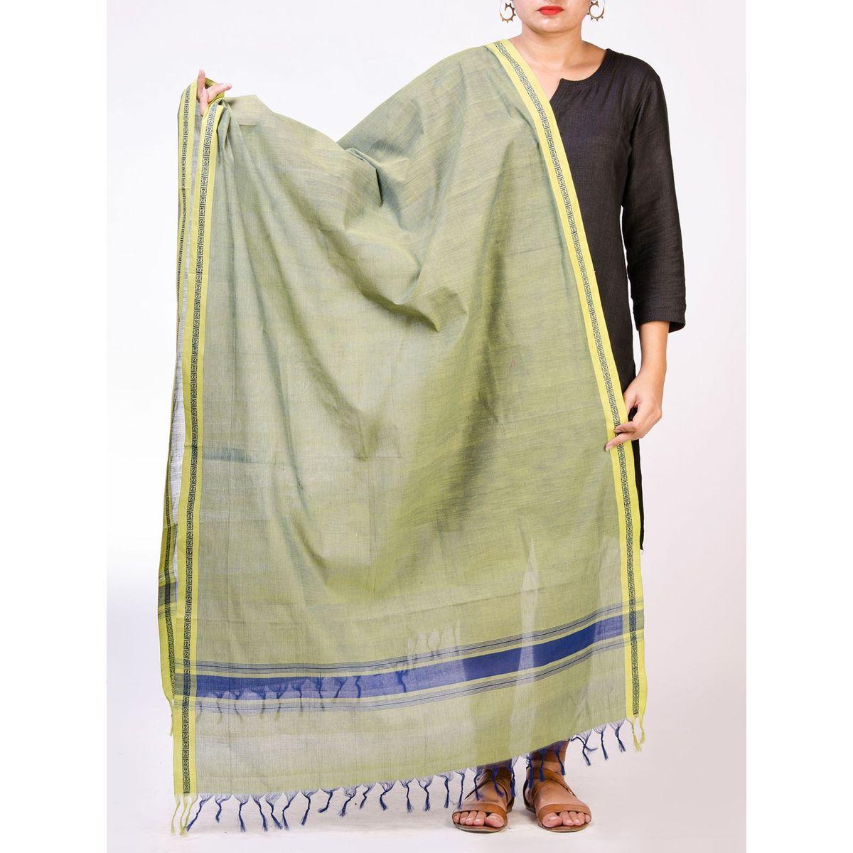 Green Mangalagiri Cotton Dupatta