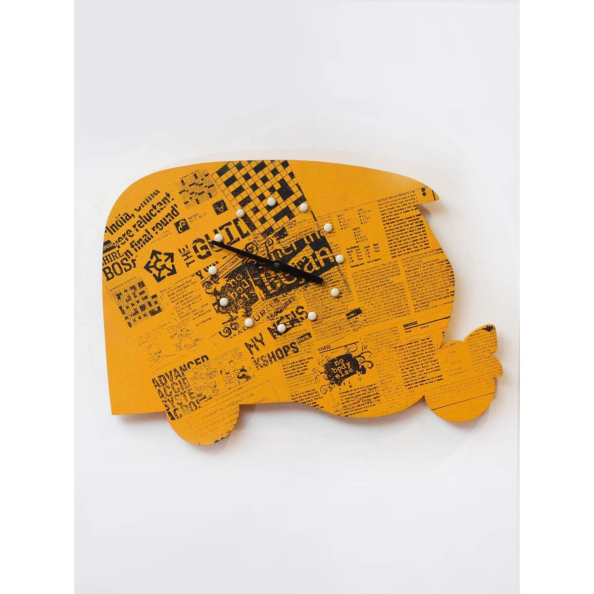 Yellow Wooden 'Auto Shape' Clock - 16 x 11 Inches