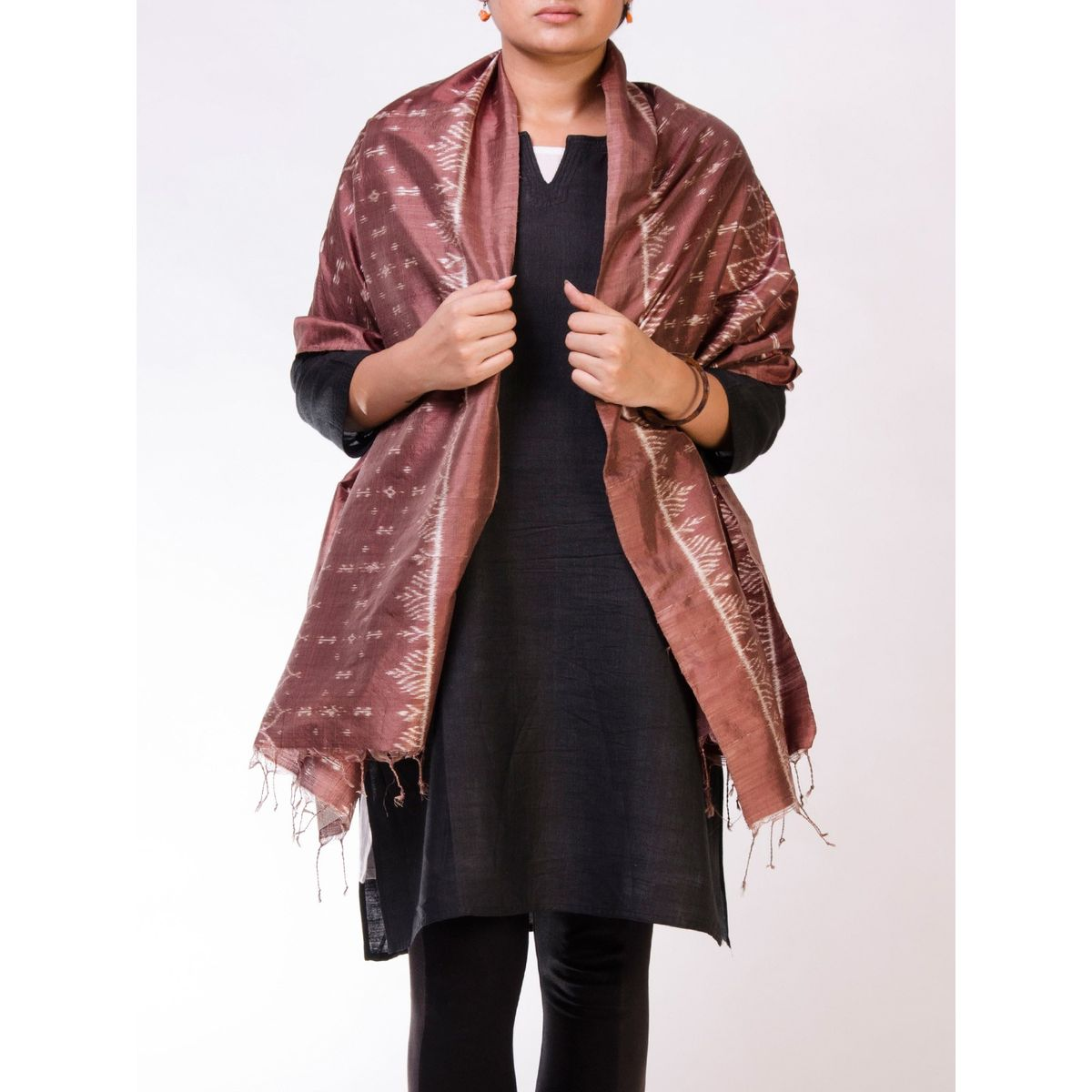 Brown Silk Ikat Stole