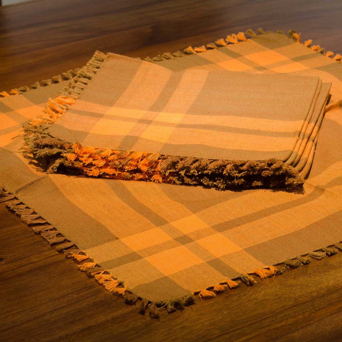 Orange Handwoven Napkin - Set of 6