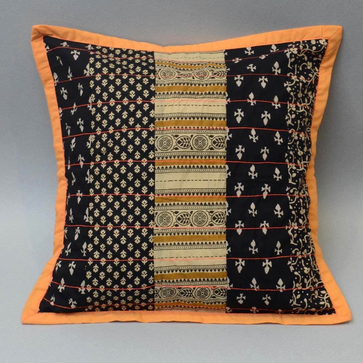 Cotton Patch Work Cushion Cover, Black Color - 16 x 16 Inch