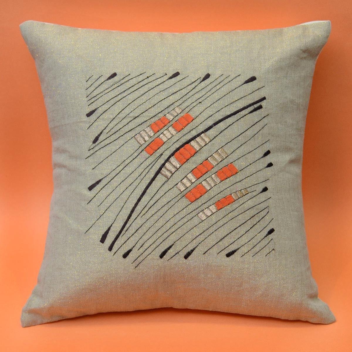 Linen Cushion Cover, Cream Color - 16 x 16 Inch