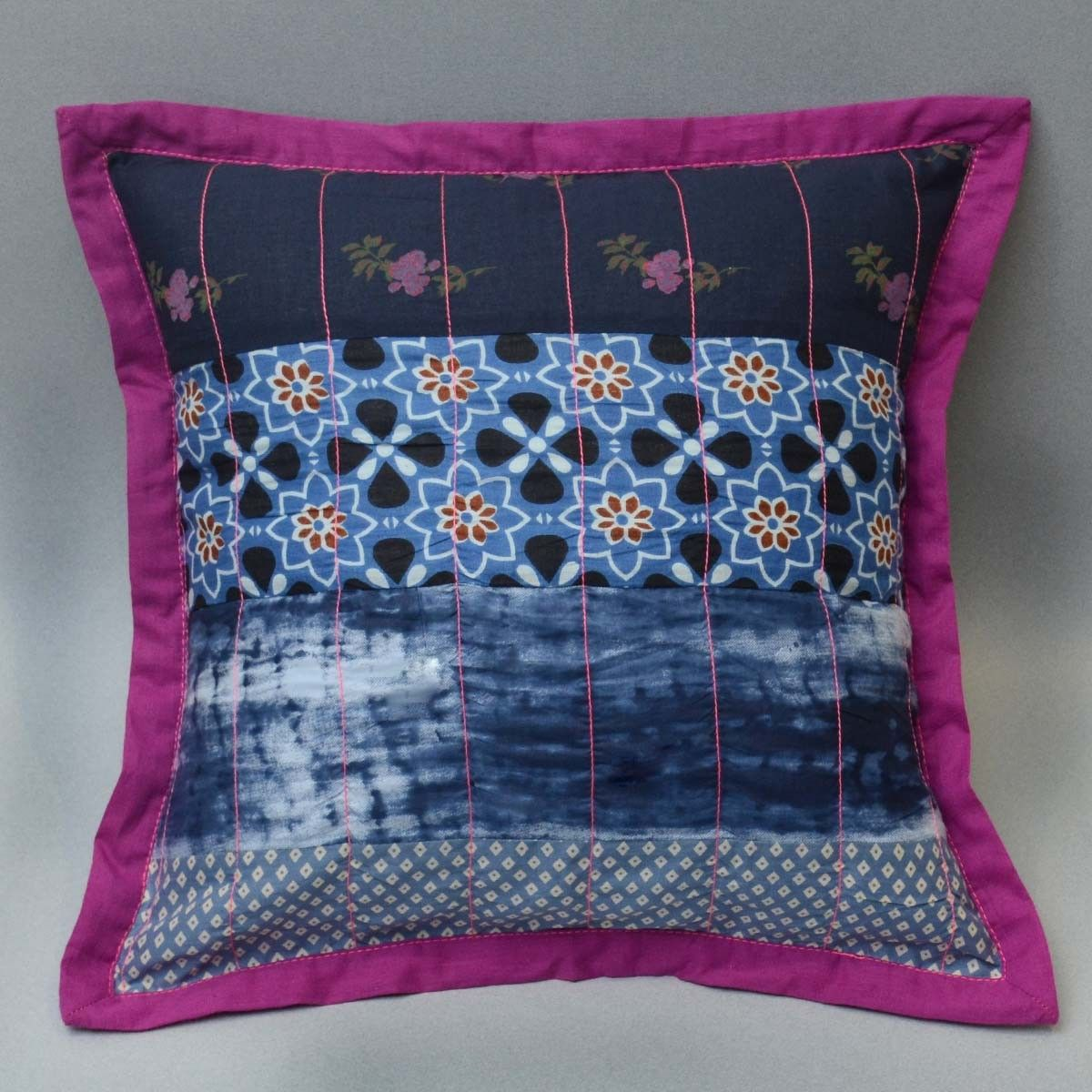 Cotton Patch Work Cushion Cover, Indigo Color - 16 x 16 Inch