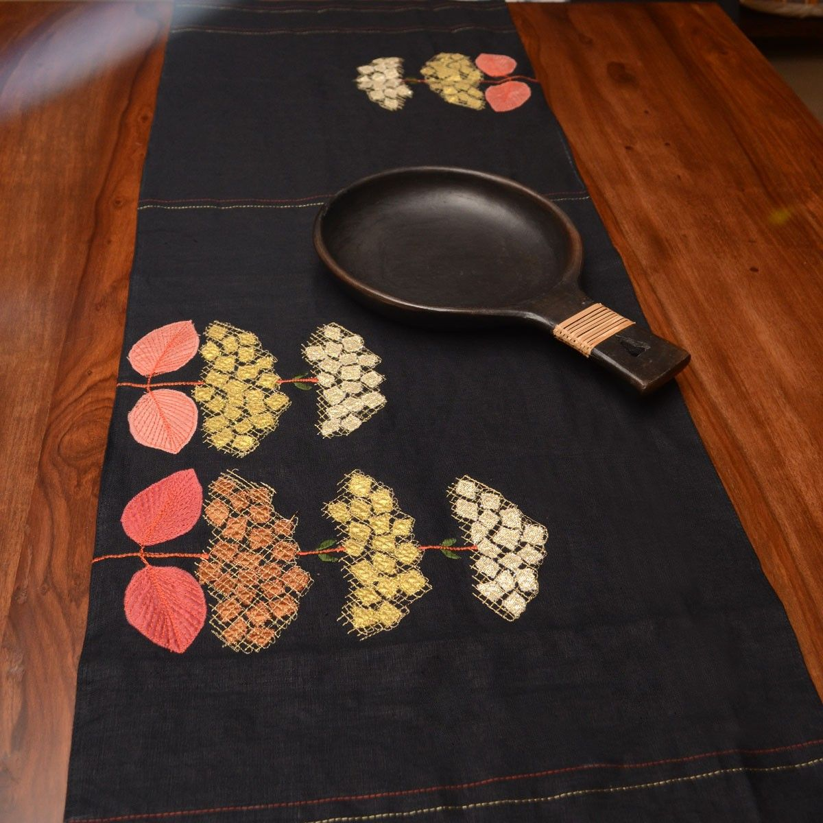 Linen Table Runner, Black Color - 16 x 58 Inch