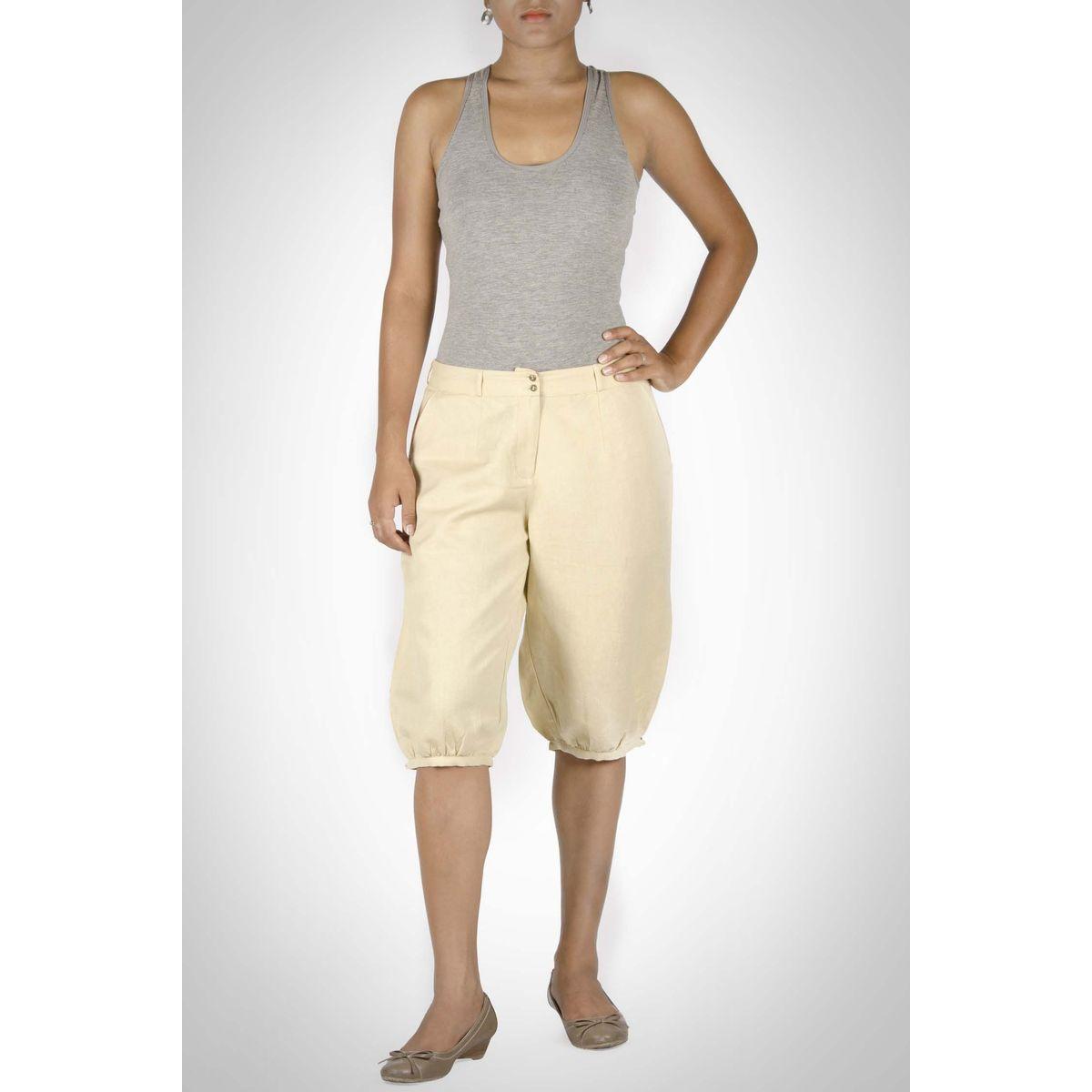 Khaki Linen Knee Length Bottom