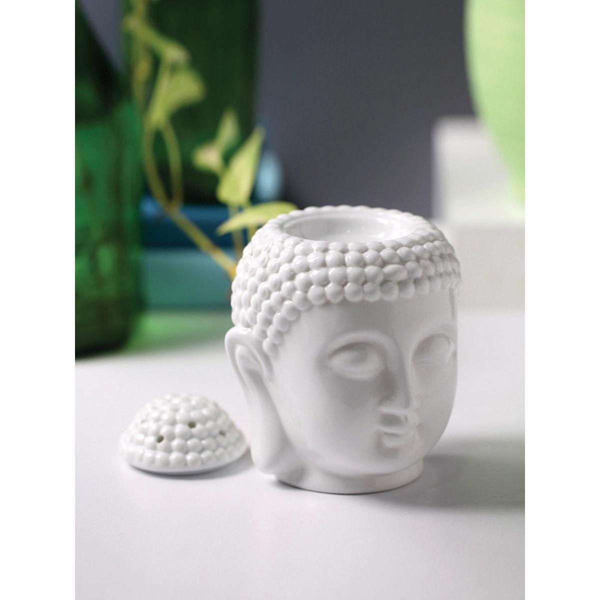 White Ceramic Buddha Head Fragrance Oil Warmer Lamp