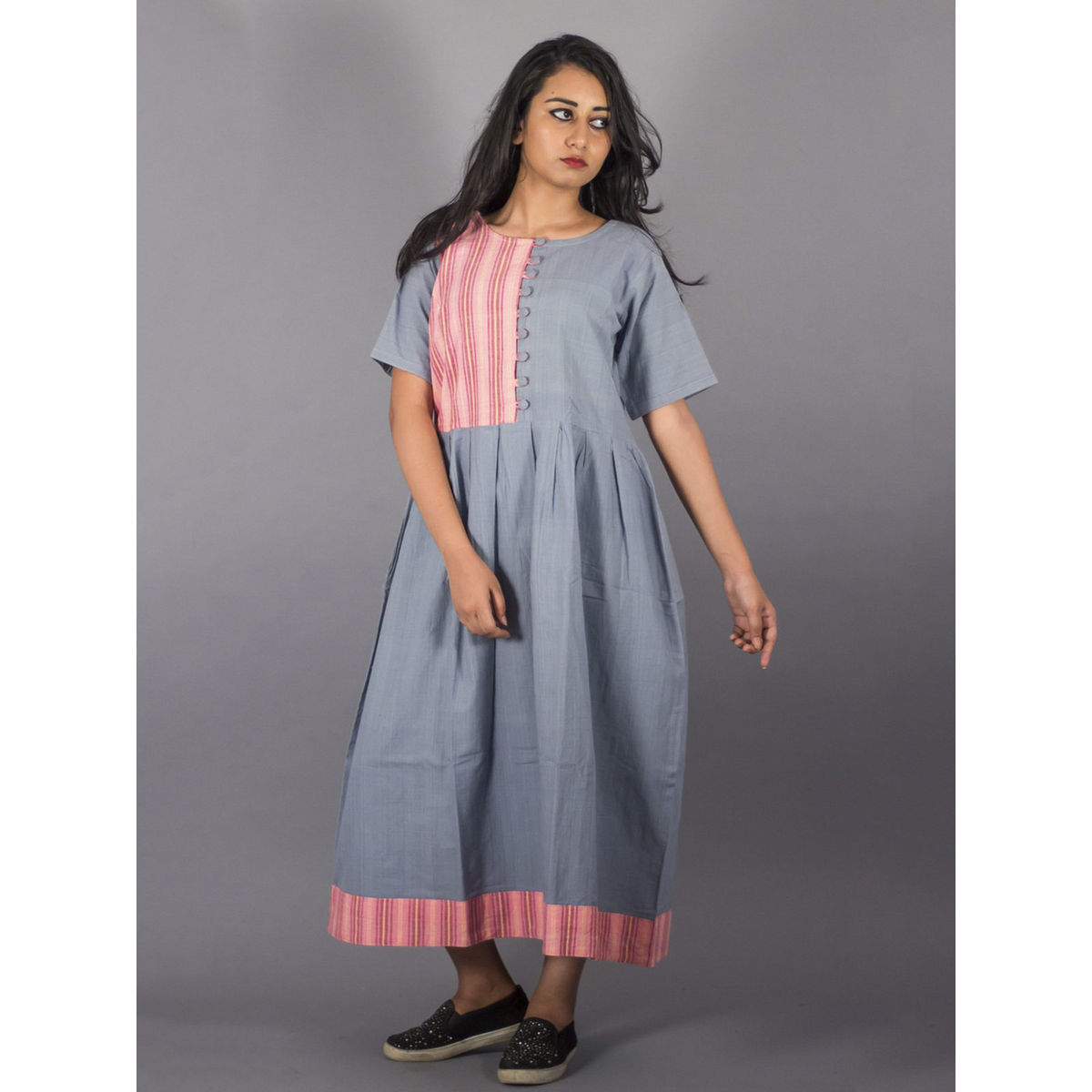 Colorblock Cotton Grey Long Dress