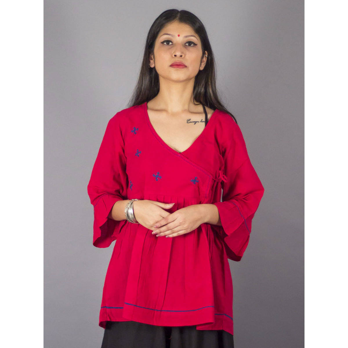 Royal Angrakha Embroidered Red Cotton Top