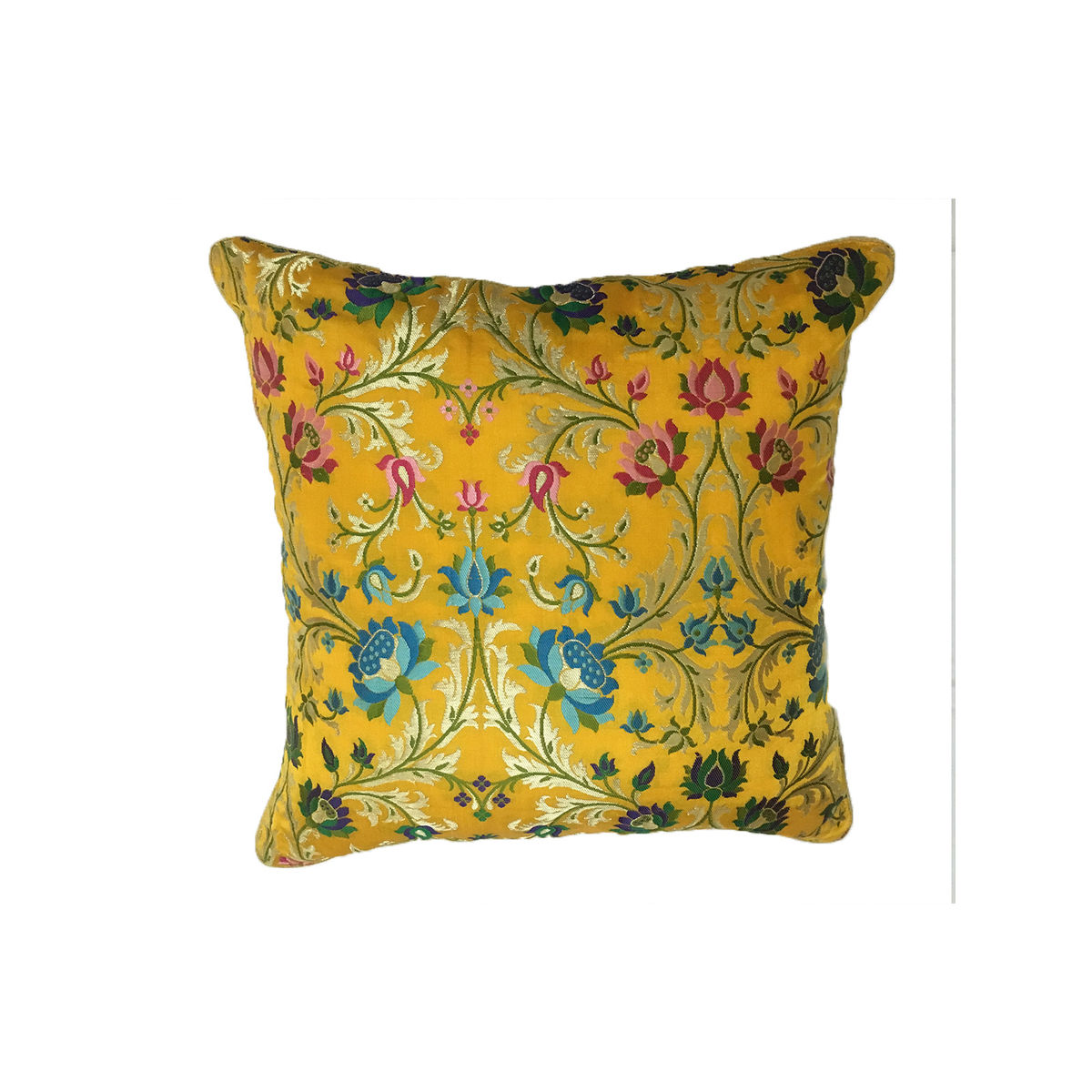 Yellow Banaras Brocade Cushion Cover