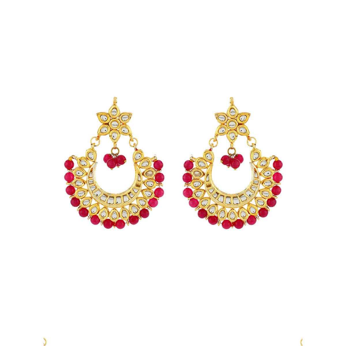 Golden Red Chandbali Earrings