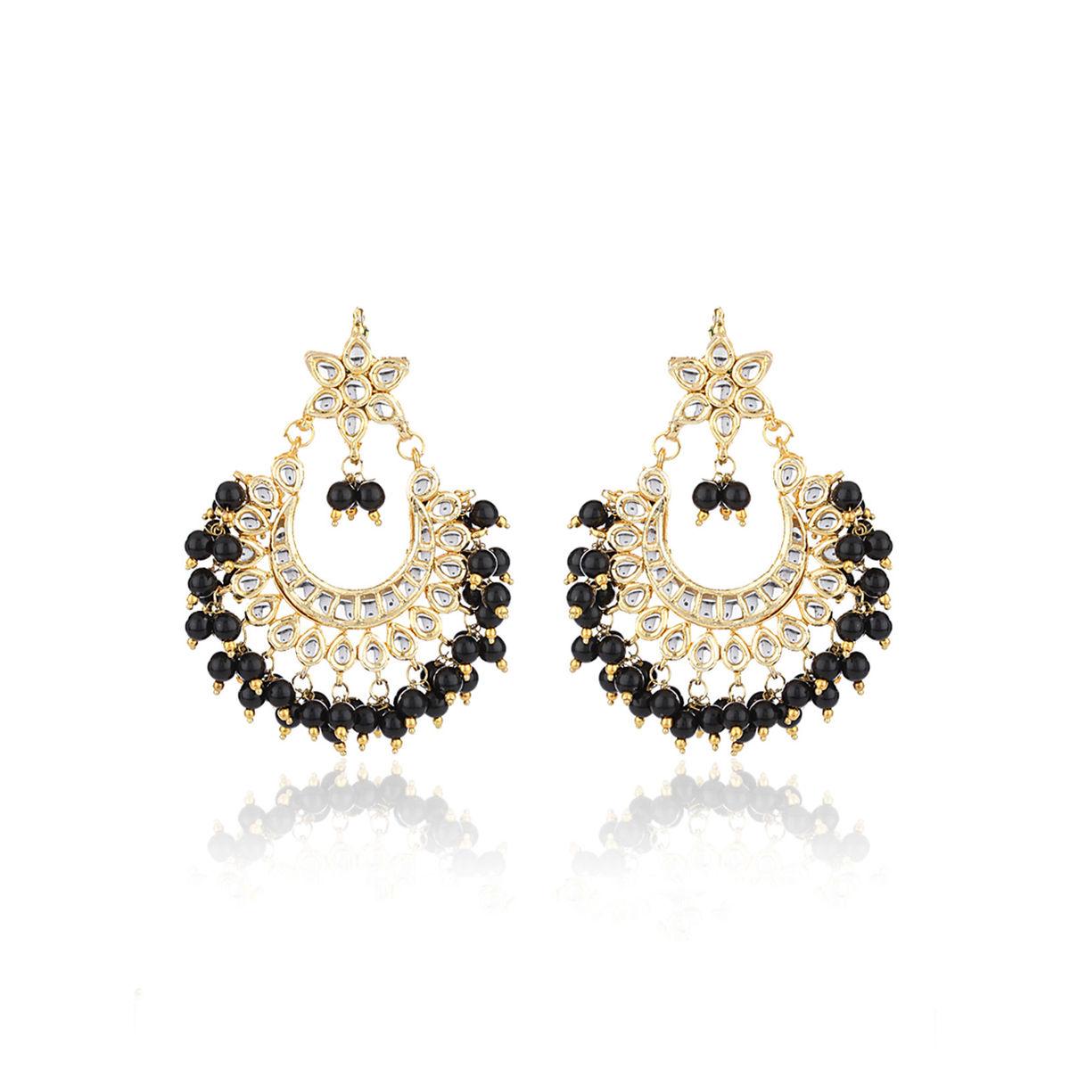 Black Bead Chandbali Earrings