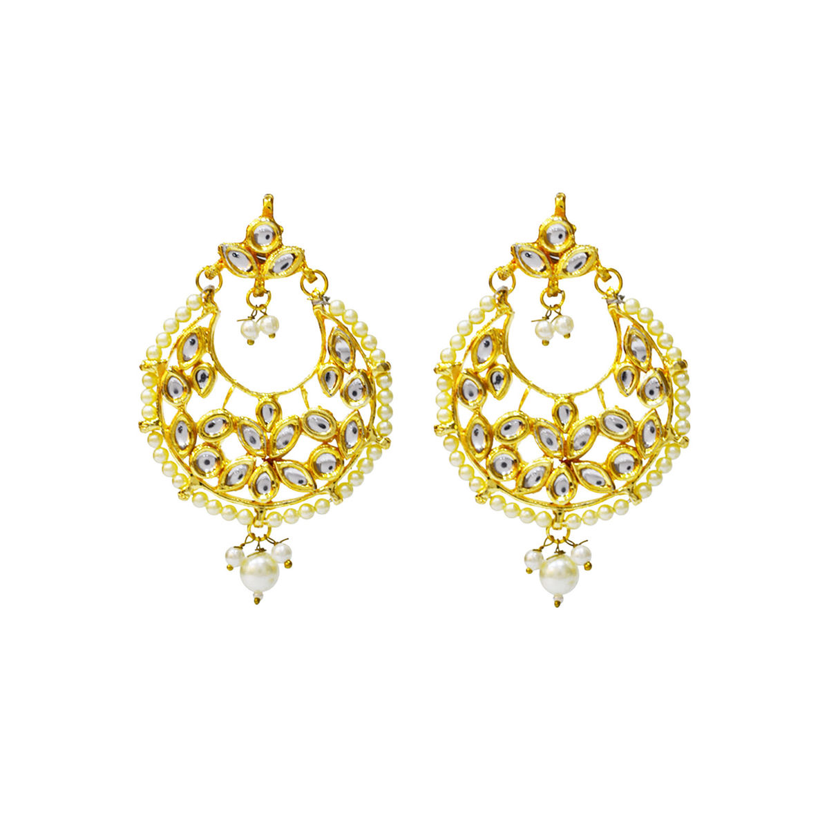 Ethnic Kundan Brass Plated Alloy Chandbali Earrings