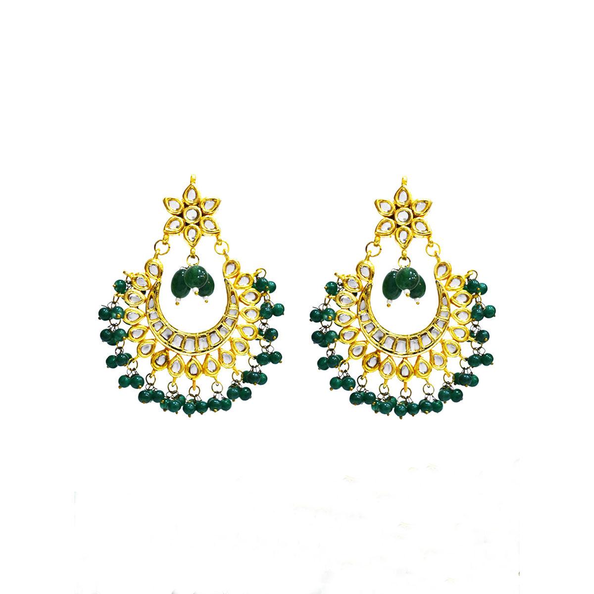 Green Beads Kundan Chandbali Earrings