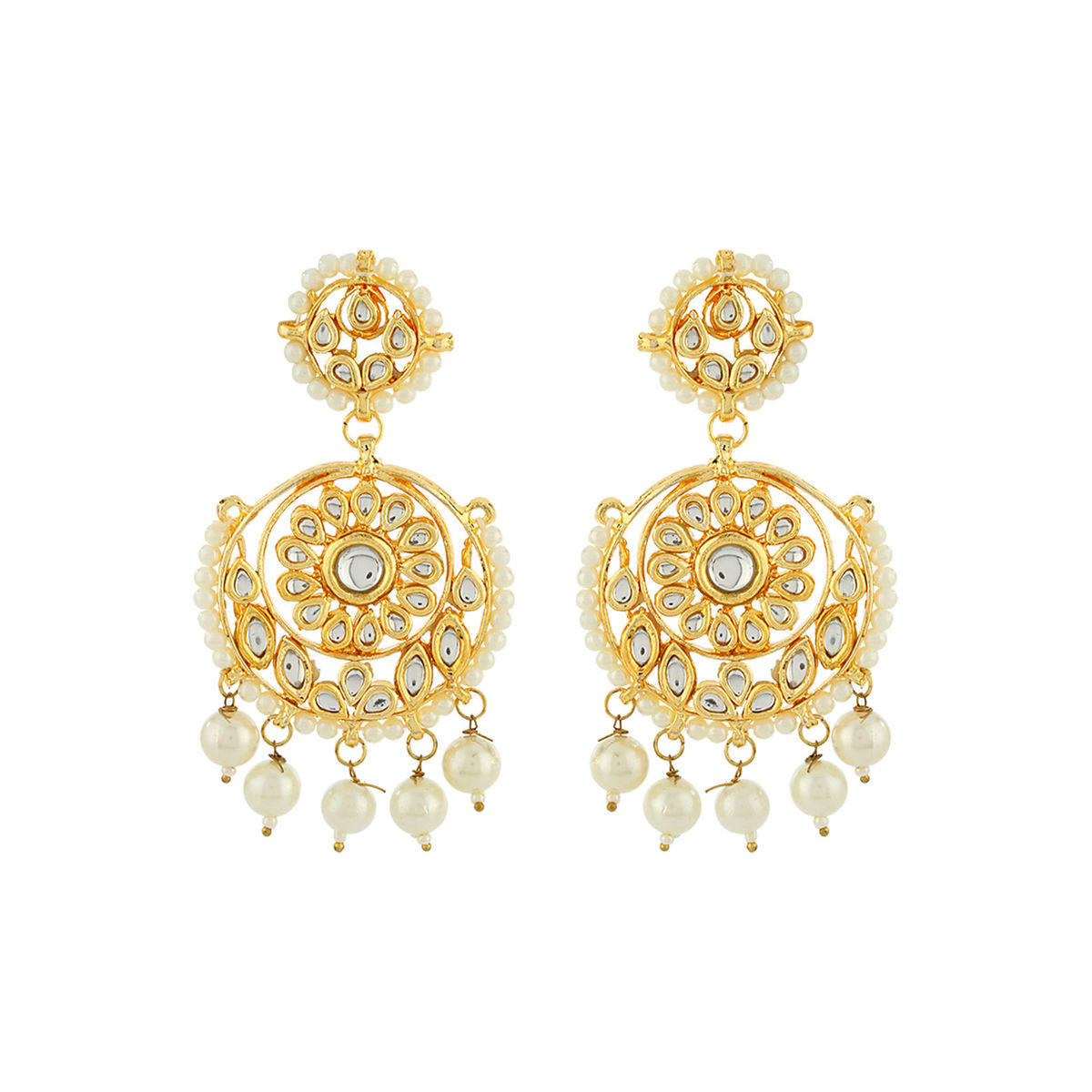 Pearl Hanging Kundan Earrings