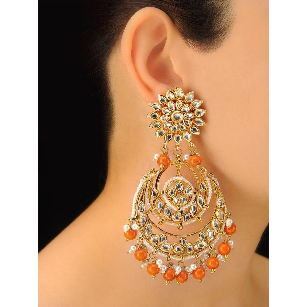 Imli Street Gold Orange Bead Chandbali Earrings