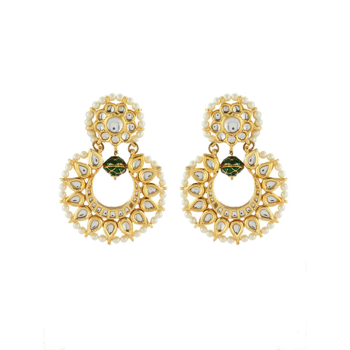 green bead Kundan Chandbali Earrings