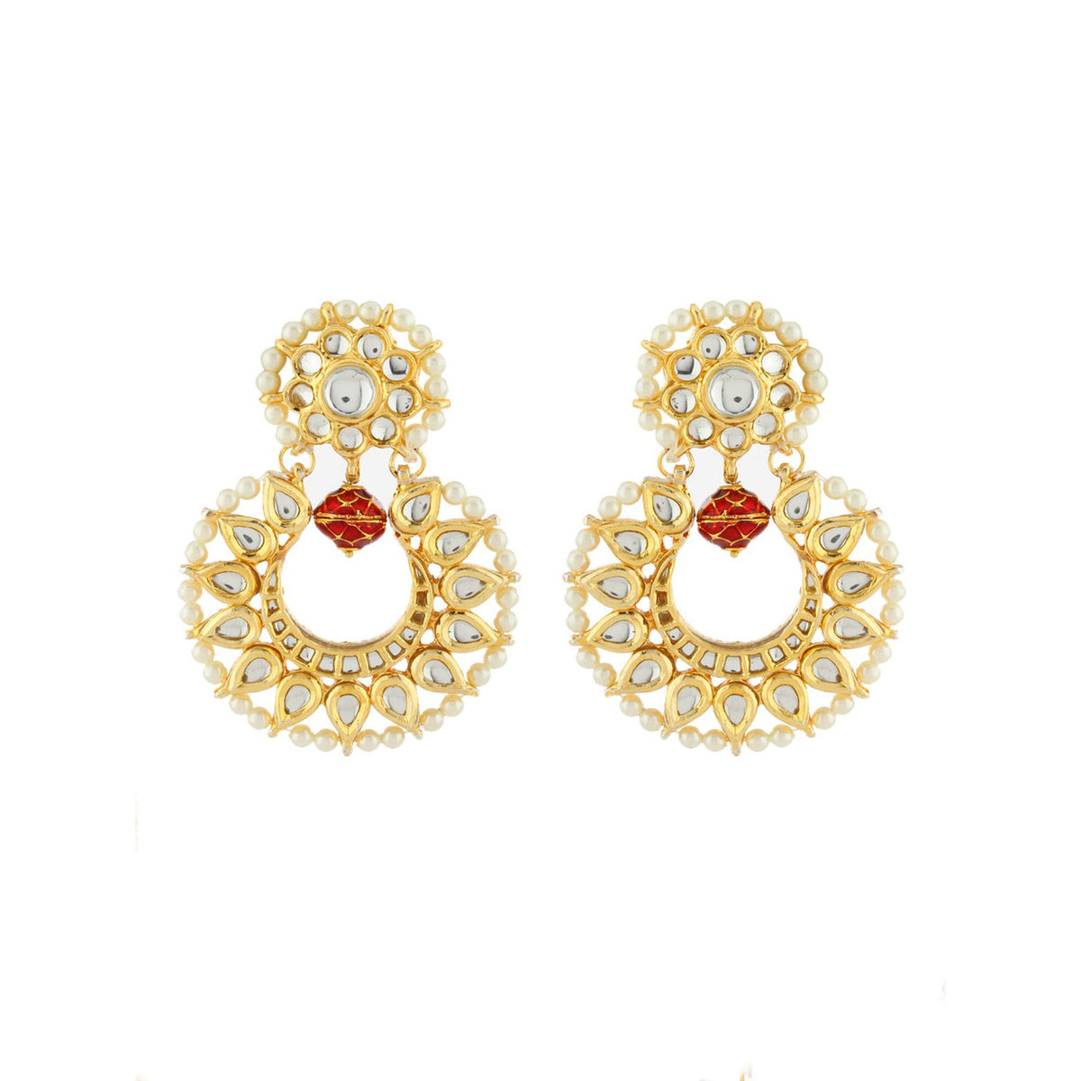 Red bead Kundan Chandbali Earrings