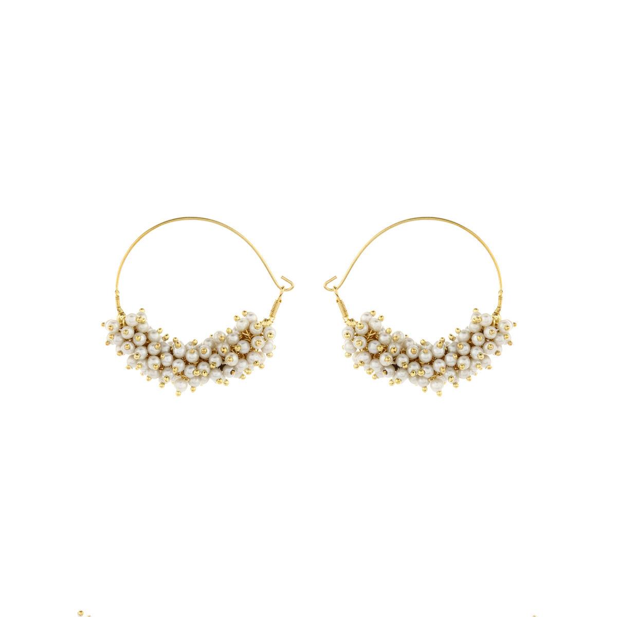Pearl Bali Hoop Earrings