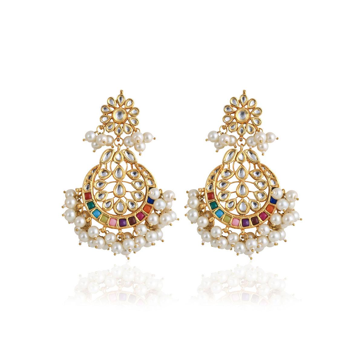 Coloured Kundan and Pearl Dangle Earrings