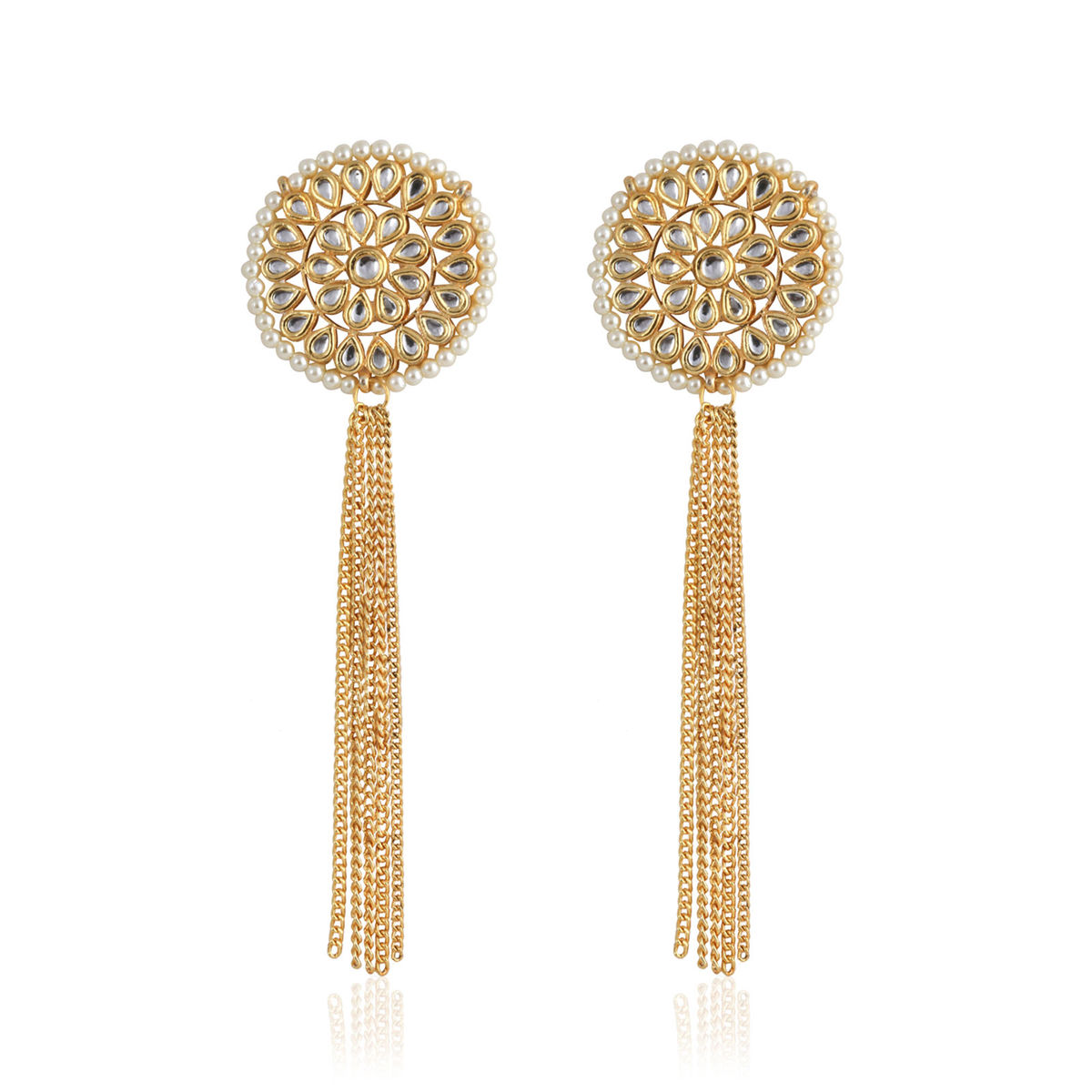 Kundan Stud Earrings With Hanging Gold Chains | Bvn081