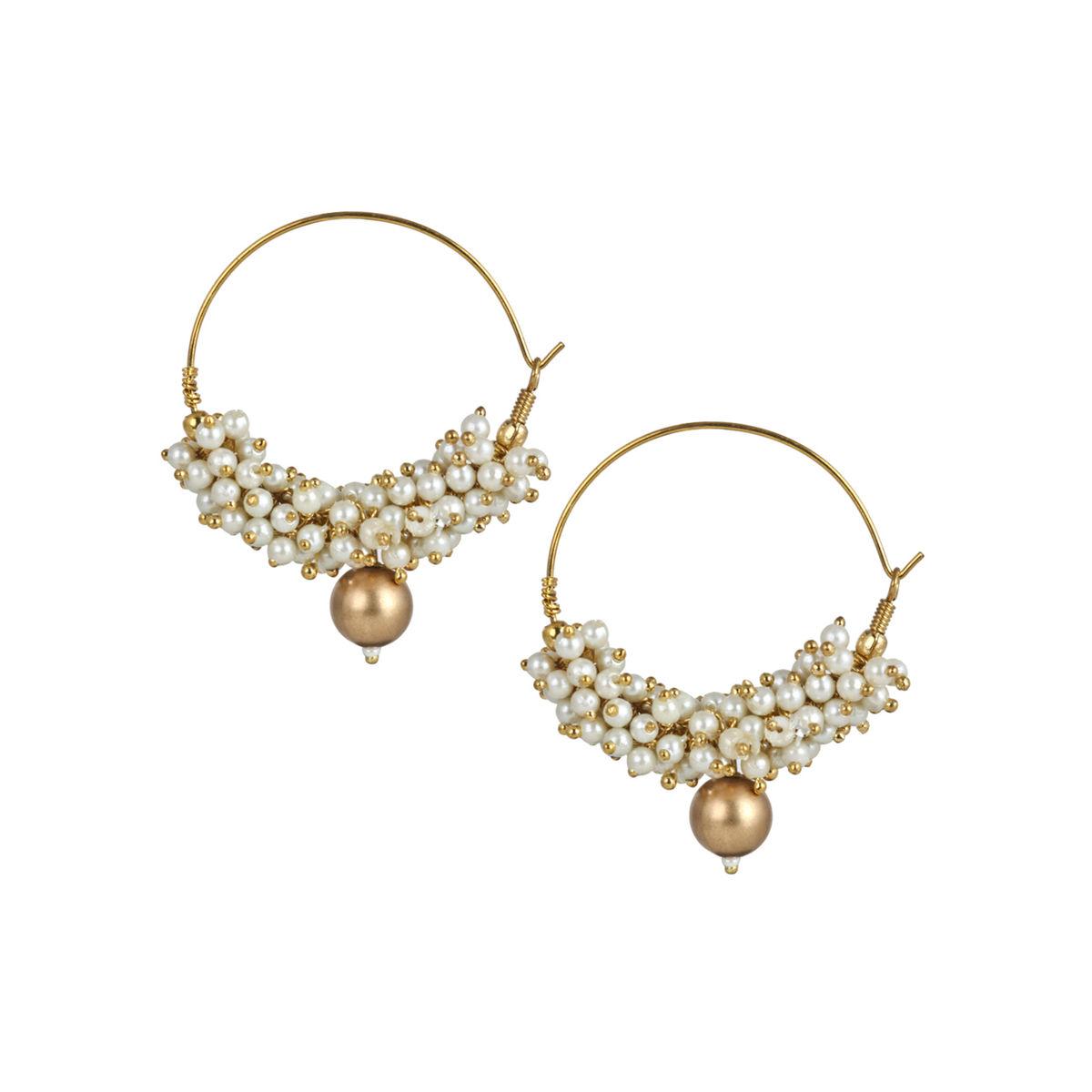 Pearl Bali hoop earrings With Gold Bead