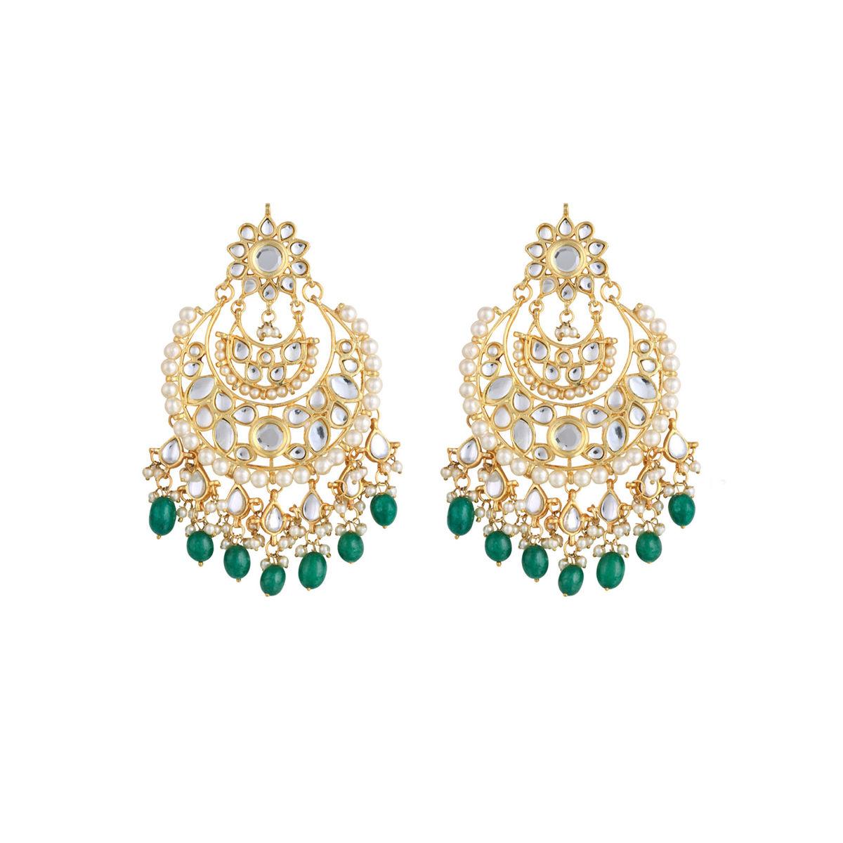 Kundan Emerald Chandbali earrings