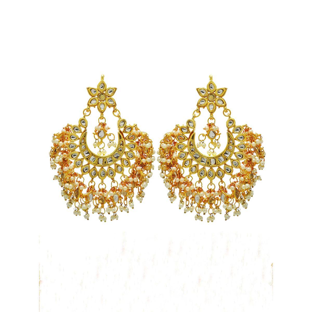 Kundan and Pearl Bridal Chandbali earrings