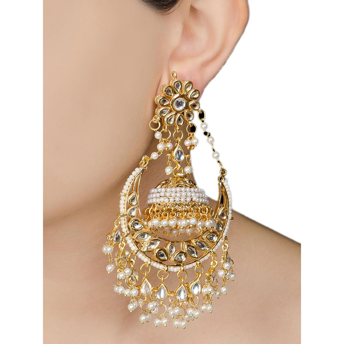 ivory half moon jadau golden jhumka earrings bvn113