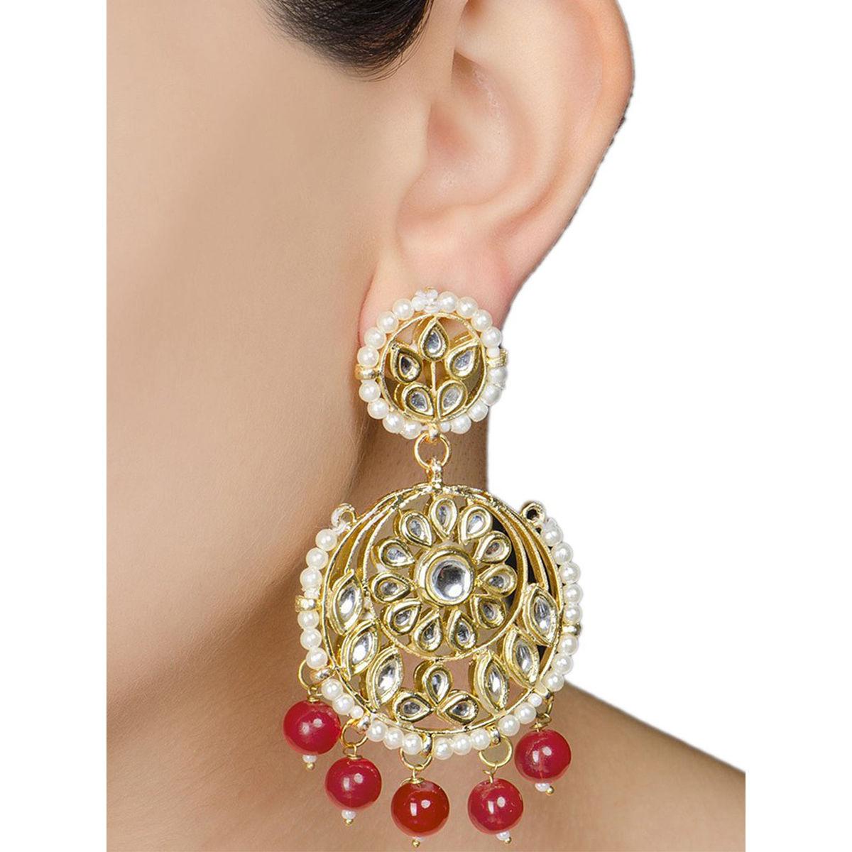 Ivory Floral Jadau Red Earrings