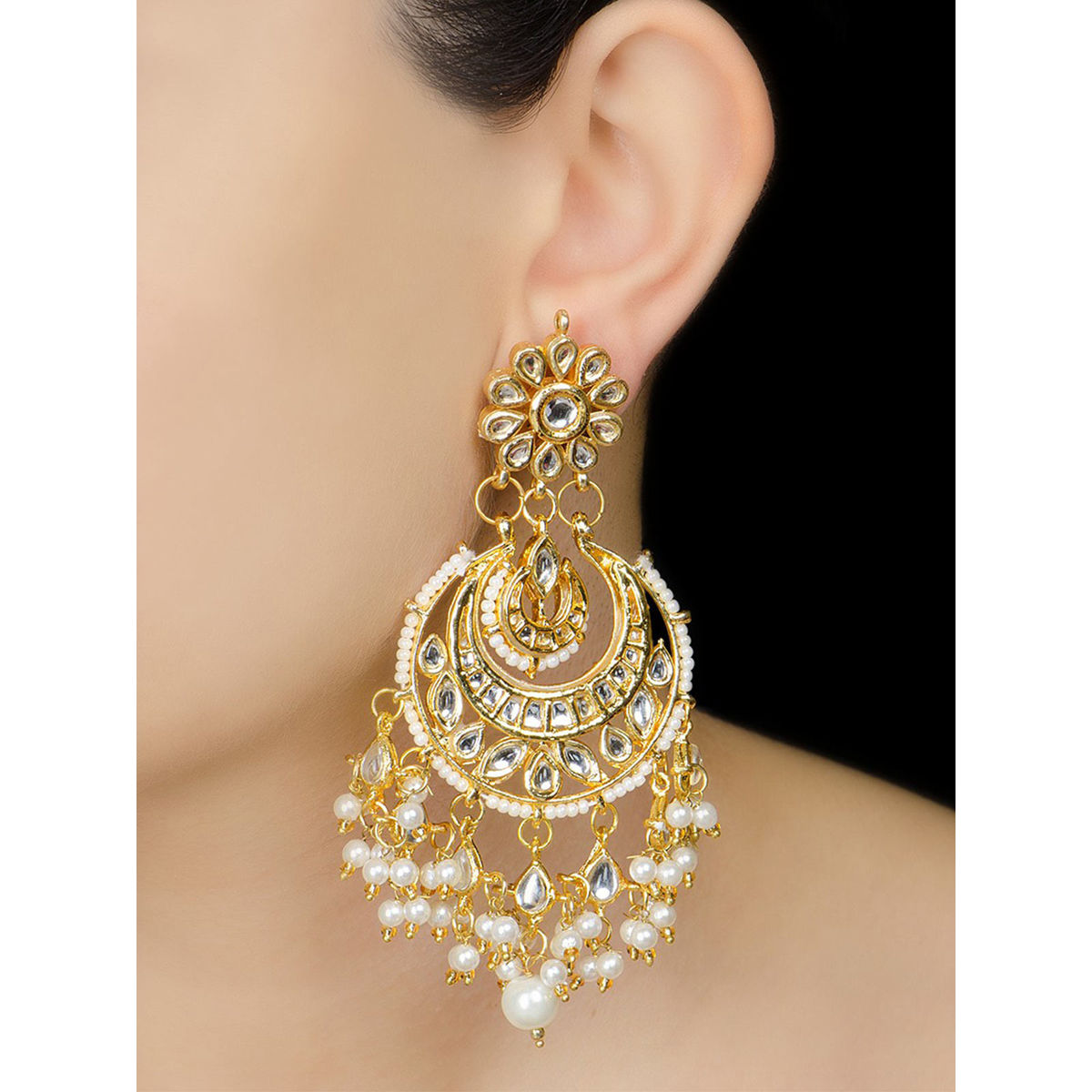 half jadau earrings moon ivory golden