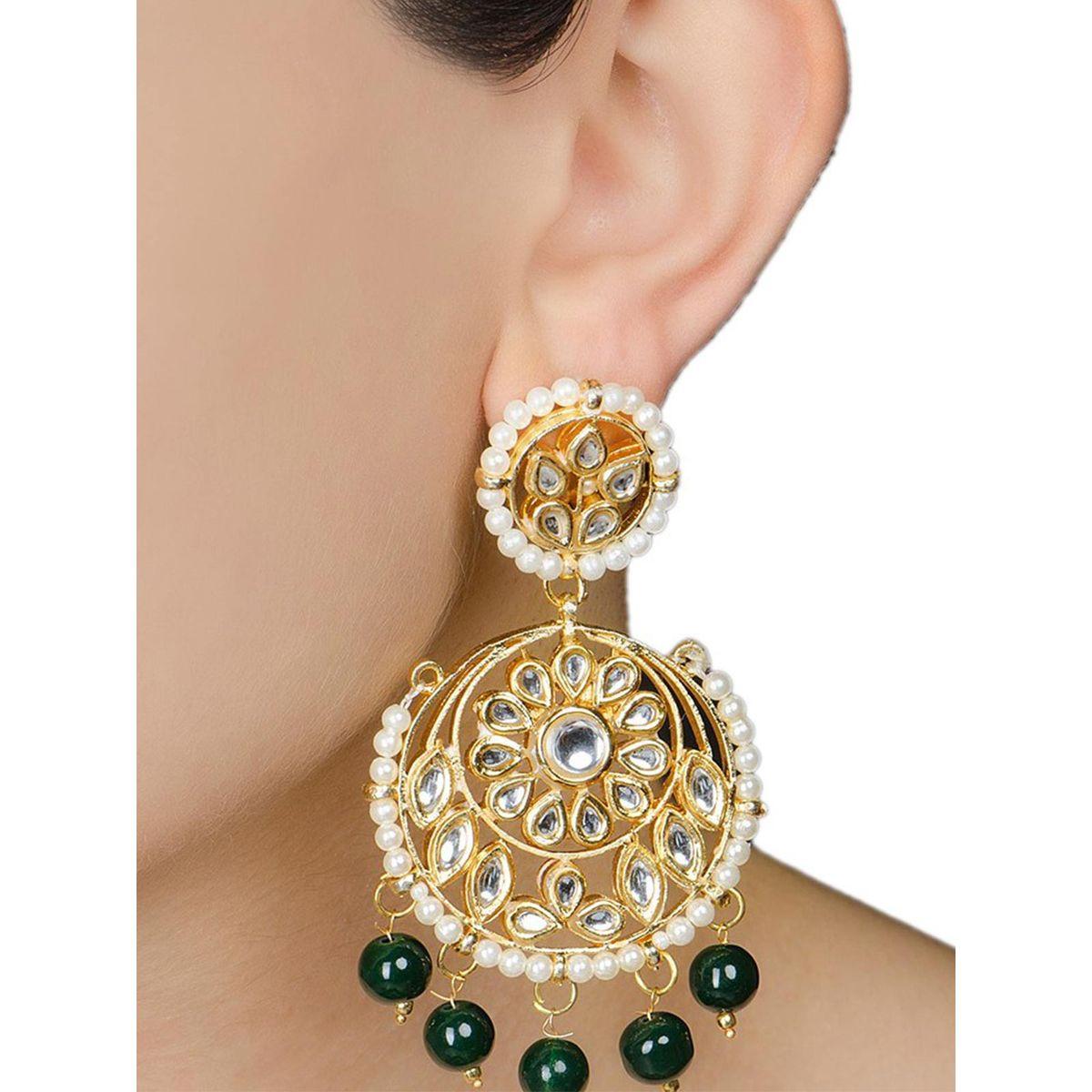 Ivory Floral Jadau Green Earrings