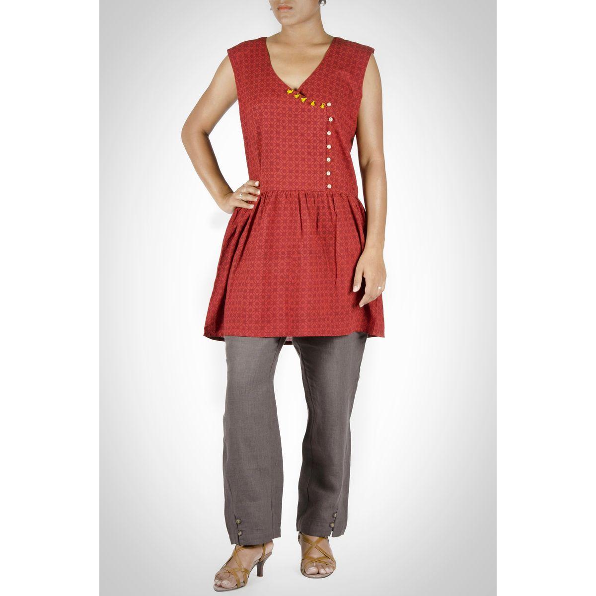 Red Cotton Sleeveless Tunic